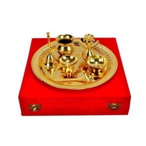 Pure Brass Pooja Thali Set Box