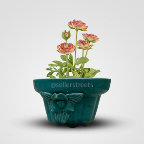 Sellerstreets  Teal Color Designer Flower Pot | Khurja Pottery Handmade Small Planter | Ideal gift For All Occasions