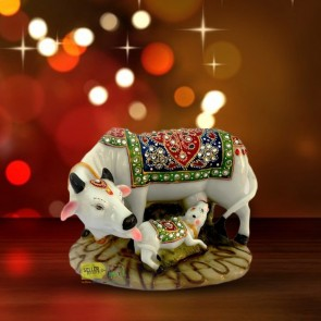 Cow and Calf Big Statue/Idol, Handicraft Decorative Marble dust/Polyresin , 6-inch(Multicolour)