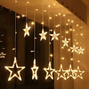 Decorative Star Curtain LED Lights for Diwali Christmas Wedding Birthday Anniversary (1 Curtain) 138 LED, (6+6 Star) (Pack of 1)