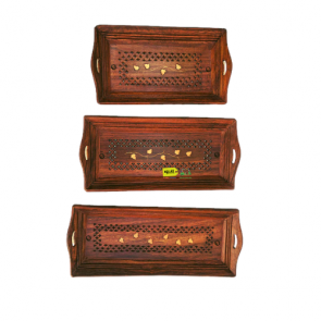 Seller Streets Wooden Tray Set of 3 (15 X 6, 14 X 6, 12 X 6 inch)