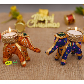 Set of 2 Handmade Elephant Tealight Holder  With Metallic Finish